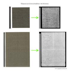 Beispiel für Wasserzeichensichtbarmachung per Bildsubtraktion