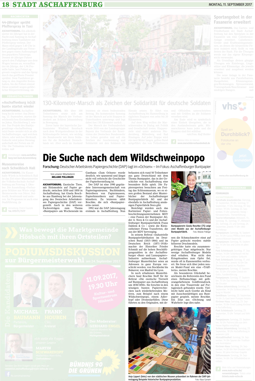 Bericht über die DAP-Tagung zum Thema Buntpapier 2017 in Aschaffenburg