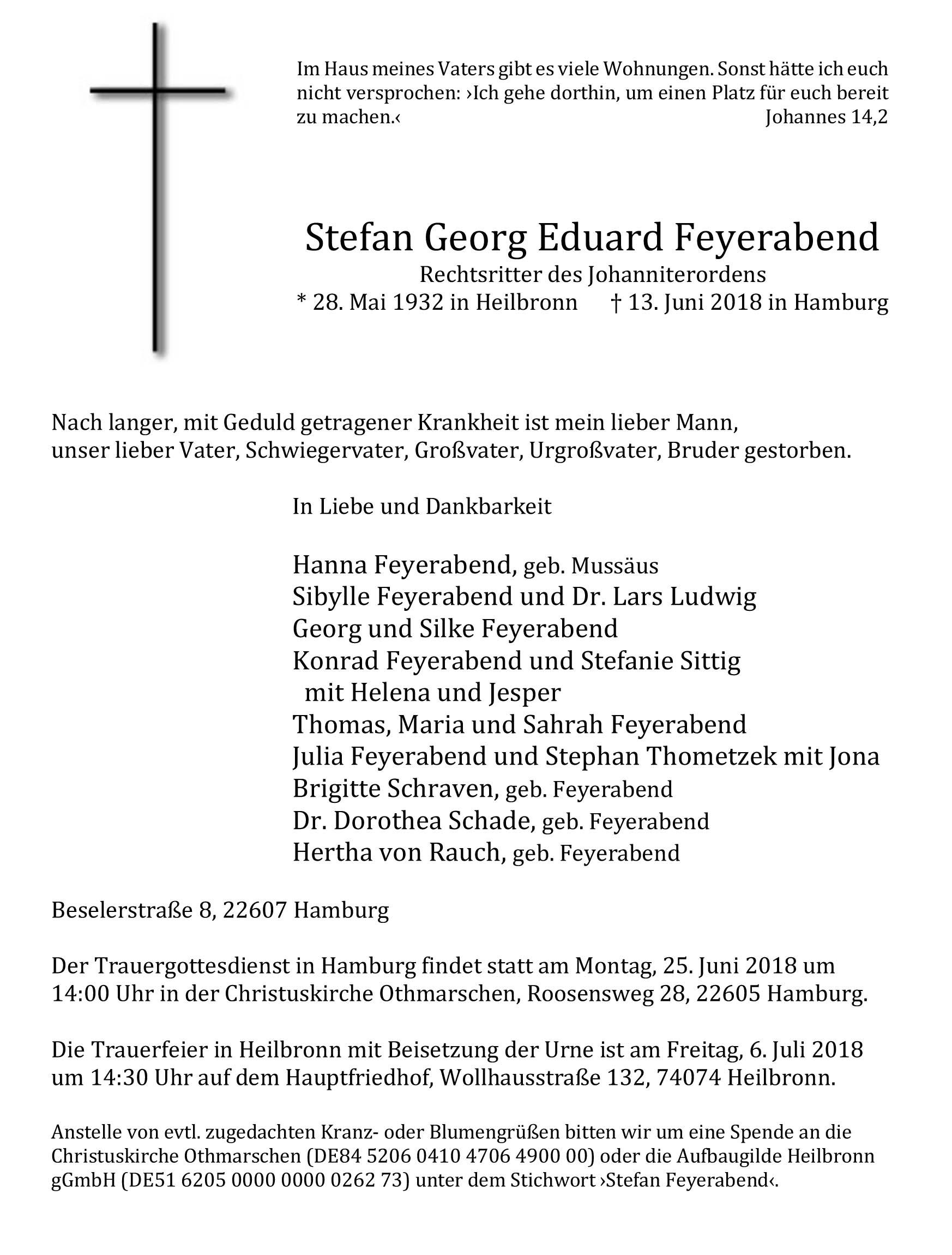 Stefan Feyerabend (1932-2018)